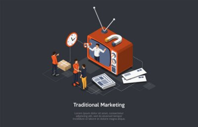 Plakat Traditional Marketing. Internet Strategies And Development, Social Media, Business Goal. Marketers Analyze Data, Develop Traditional Product Promotion Strategies. Isometric Vector Illustration