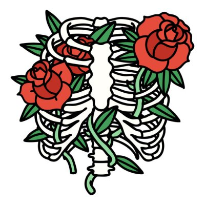 Plakat traditional tattoo of a rib cage and flowers