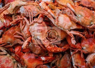 Plakat Traditional Thai sea food market, with fresh seafood