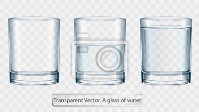 Plakat Transparent vector glass of water on light background