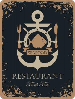 Plakat transparent z kotwicy statku i owoce morza w restauracji z ryb, sterem i sztućce