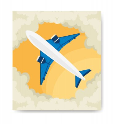 Plakat travel poster and airplane with clouds vector illustration design