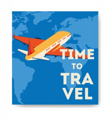 Plakat travel poster with airplane flying vector illustration design