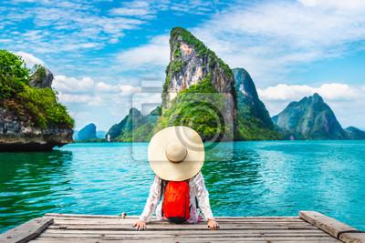 Plakat Traveler woman looking amazed nature scenic landscape tropical island Phang-Nga bay Adventure lifestyle tourist travel Phuket Thailand summer holiday vacation  Tourism beautiful destination place Asia
