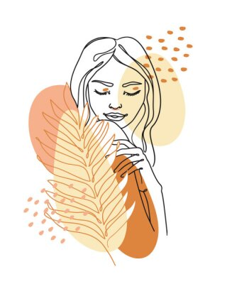 Plakat Trendy abstract continuous one line woman portrait with palm leaf and geometric shapes. Vector.