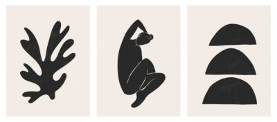 Plakat Trendy contemporary abstract matisse geometric woman composition