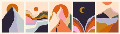 Plakat Trendy minimalist abstract landscape illustrations. Set of hand drawn contemporary artistic posters.