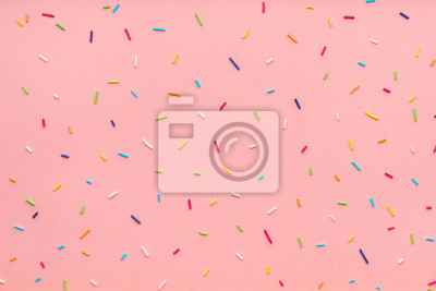 Plakat trendy pattern of colorful sprinkles for background of design banner, poster, flyer, card, postcard, cover, brochure over pink