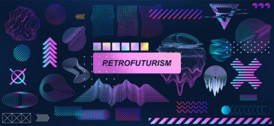 Plakat Trendy retrofuturistic holographic collection in vaporwave style in 80s-90s. Old wave cyberpunk concept. Shapes design elements for disco genre, retro party or themed event. Neon shapes with glitch