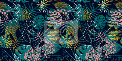 Plakat Trendy seamless exotic pattern with palm, animal prints and hand drawn textures.