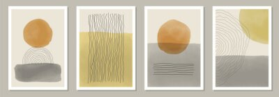 Plakat Trendy set of abstract creative minimal artistic hand painted compositions