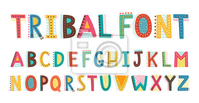 Plakat Tribal cute alphabet font. Uppercase doodle Letters.