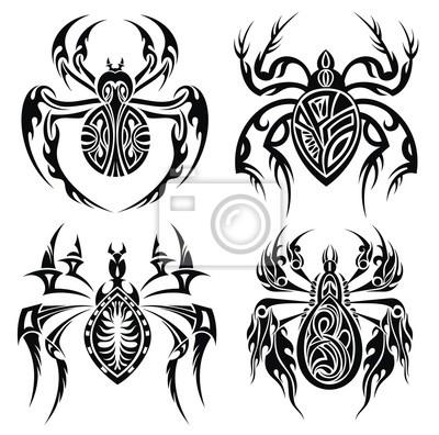 Tribal Pająki Wzór Tatuażu Plakaty Redro