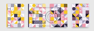 Plakat Trójkąt geometryczna deseniowa tło tekstura dla plakat pokrywy projekta. Szablon transparent wektor minimalny kolor z koła, kwadrat