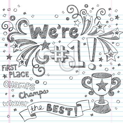 Plakat Trophy Winner Champion Vector Doodles szkicowy