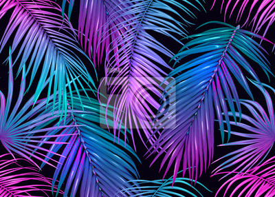 Plakat Tropic leaves seamless pattern in neon colors