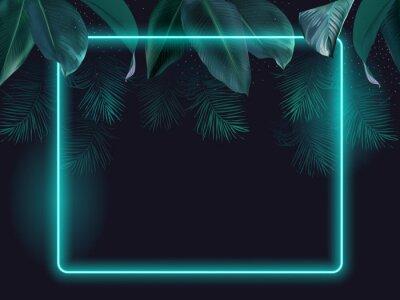 Plakat Tropical elegant frame arranged from exotic emerald leaves
