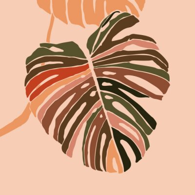 Plakat Tropical monstera leaves in a minimalist trendy style. Silhouette of a plant in a contemporary simple abstract style. Vector illustration collage. For t-Shirt Print, card, poster, social media post