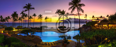 Plakat Tropical resort with sunset
