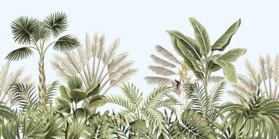 Plakat  Tropical vintage botanical landscape, palm tree, banana tree, plant floral seamless border blue background. Exotic green jungle wallpaper.
