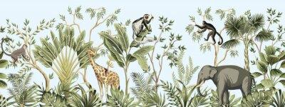 Plakat Tropical vintage botanical landscape, palm tree, banana tree, plant, palm leaves, giraffe, monkey, elephant floral seamless border blue background. Jungle animal wallpaper.