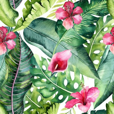 Plakat Tropikalny bezszwowe kwiatowy lato wzór tła z liści tropikalnej palmy, różowy ptak flamingo, egzotyczny hibiskus. Idealny do tapet w dżungli, projektowania tkanin modowych, drukowania tkanin.