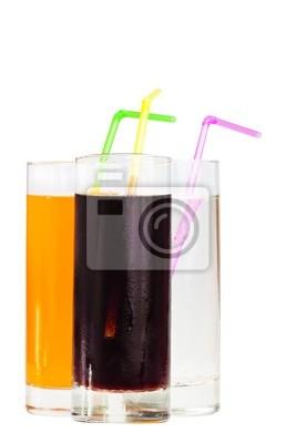 Plakat Trzy highball szklanki sody z słomki na B Biały