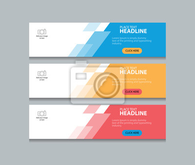 Plakat trzy kolorowe abstrakcyjne banner internetowy szablon projektu