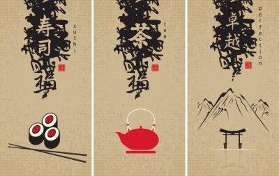 Plakat trzy menu kuchni japońskiej