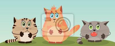 Trzy śmieszne koty kreskówek. ilustracji wektorowych.