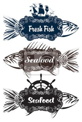 Plakat trzy wektor znaki wskaźnika do przechowywania ryb w restauracji