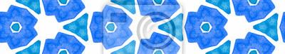 Plakat Turquoise blue retro Seamless Border Scroll. Geome