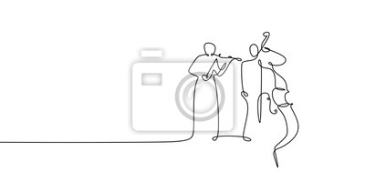 Plakat Two person playing cello and violin continuous one line drawing classical music theme