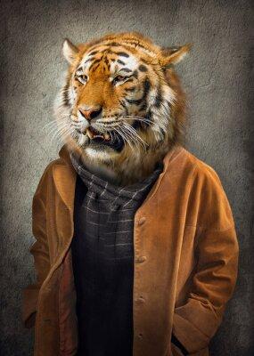 Plakat Tygrys w ubraniach. Mężczyzna z głową tygrysa. Grafika koncepcyjna w stylu vintage z delikatnym stylem malowania olejnego.