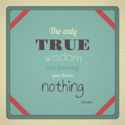 Plakat Tylko prawdziwa mądrość jest w Wiedząc, Ty nic nie wiesz