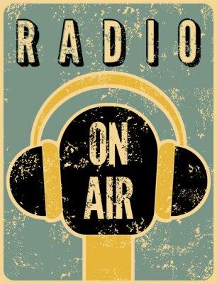 Plakat Typograficzny plakat retro grunge stacja radiowa.