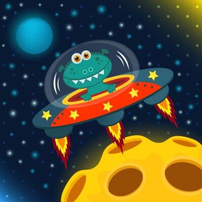 Plakat UFO obcy, Spodek - ilustracji wektorowych