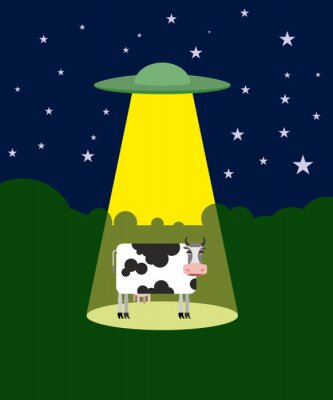 Plakat UFO porywa krowy. Kosmici i bydło. Latający spodek p wiązka