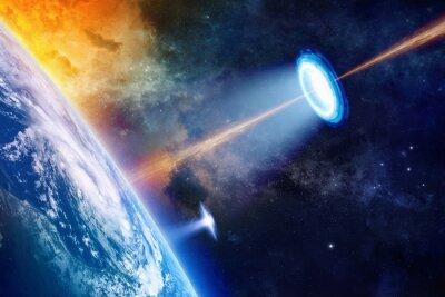 Plakat UFO w pobliżu Ziemi