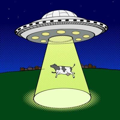 Plakat Ufo zajmuje krowa wektor stylu pop-art