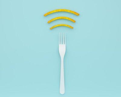 Plakat Układ symbol kreatywny pomysł WiFi wykonane z widelca z frytkami na niebieskim tle koloru. minimalny pomysł na jedzenie i technologia internetowa / koncepcja sieci