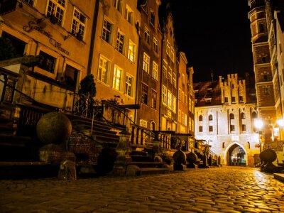 Plakat Ulica Mariacka w Gdańsku nocą