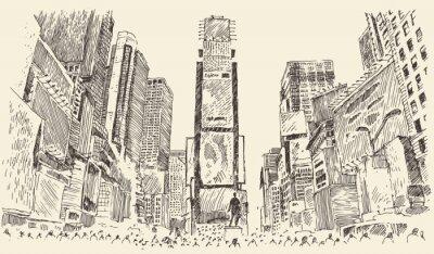 Plakat Ulica Times Square w Nowym Jorku grawerowania