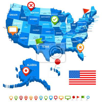 Unite Zjednoczone (USA) 3D, flaga i nawigacja icons.Highly szczegółowe wektora illustration.Image zawiera kontury ziemi, nazwy krajów i gruntów, nazwy miast, nazwy obiektów wody, flaga, ikony nawigacy