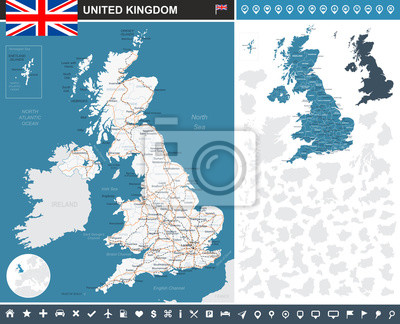 Plakat United Kingdom infographic map. Highly detailed vector illustration. Image contains land contours, country and land names, city names, water objects, flag, navigation icons, roads, railways.