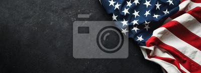 Plakat United States Flag On Black Background