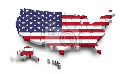 Plakat United states of america map and flag . 3D shape design . Independence day of USA concept . Perspective view . Vector
