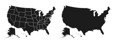 Plakat United States of America map. USA map with and without states isolated – stock vector