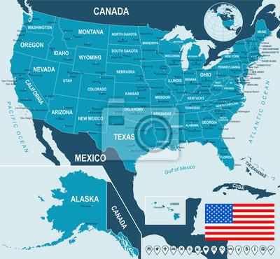 Plakat United States, USA. Map, flag and navigation labels, highly detailed vector illustration.