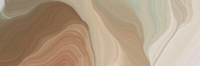 Plakat unobtrusive header with elegant curvy swirl waves background design with rosy brown, light gray and pastel brown color